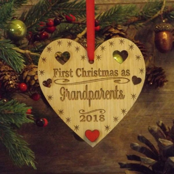 Grandparents First 1st Christmas Personalised Heart Decoration Gift
